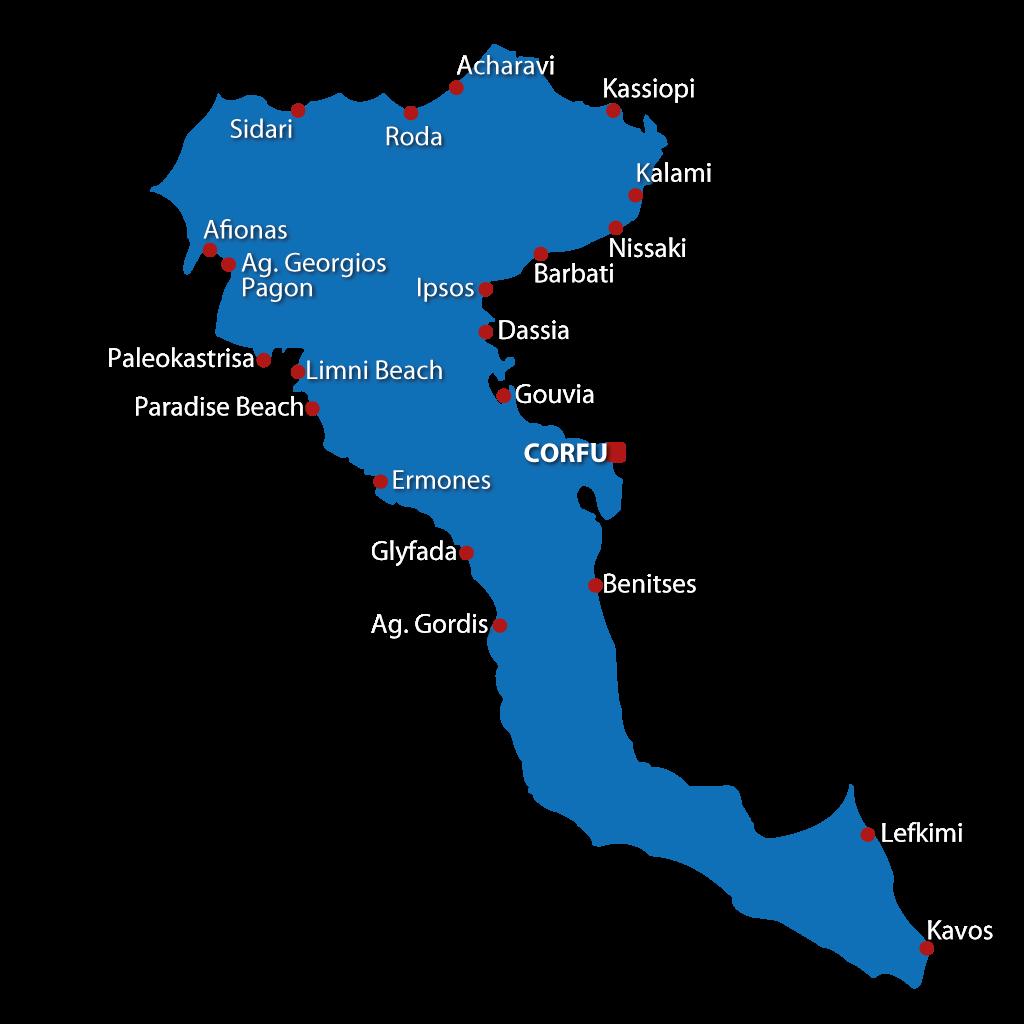 Mappa delle spiagge di Corfù